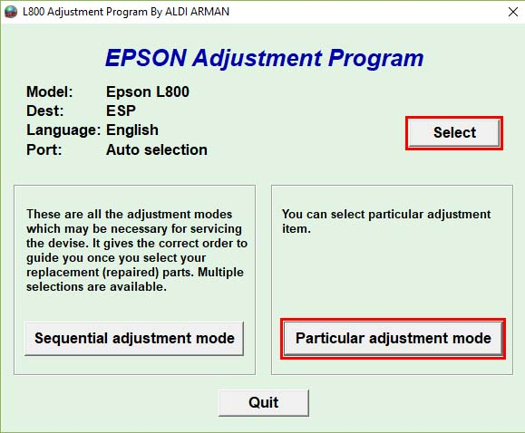 Epson L800 Adjustment program